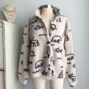 Vintage TRUE GRIT Native Symbol Cozy Fleece Jacket